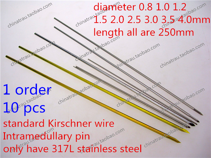 Medisinsk ortopedisk instrument 0,8 1,0 1,2 1,5 2,0 2,5 3,0 3,5 4,0 tainless stål kirschner wire animal Intramedullary pin VET