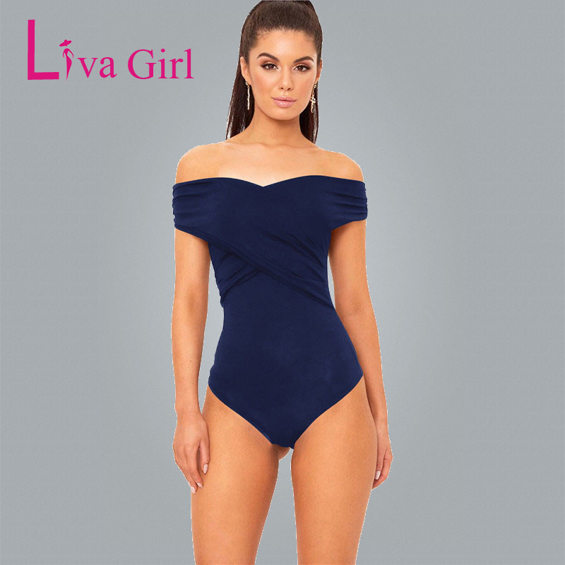 LIVA GIRL Summer Body Women Off Shoulder Sexy Bodysuits Overalls Womens Ruched Elegant Skinny Bodysuit Bodycon Jumpsuits Rompers