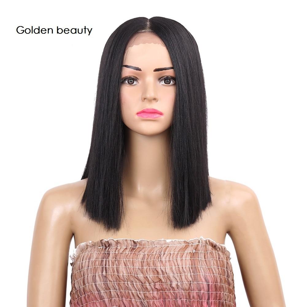 12 tums Silky Straight Syntetisk Spets Fram Paryk Medel Part Parys - Syntetiskt hår