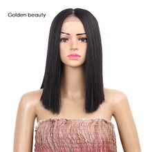 все цены на 12inch Synthetic Bob Wig Straight Heat Rasistant Synthetic Lace Front Wig Blonde Short Ombre Hair Wig Golden Beauty онлайн