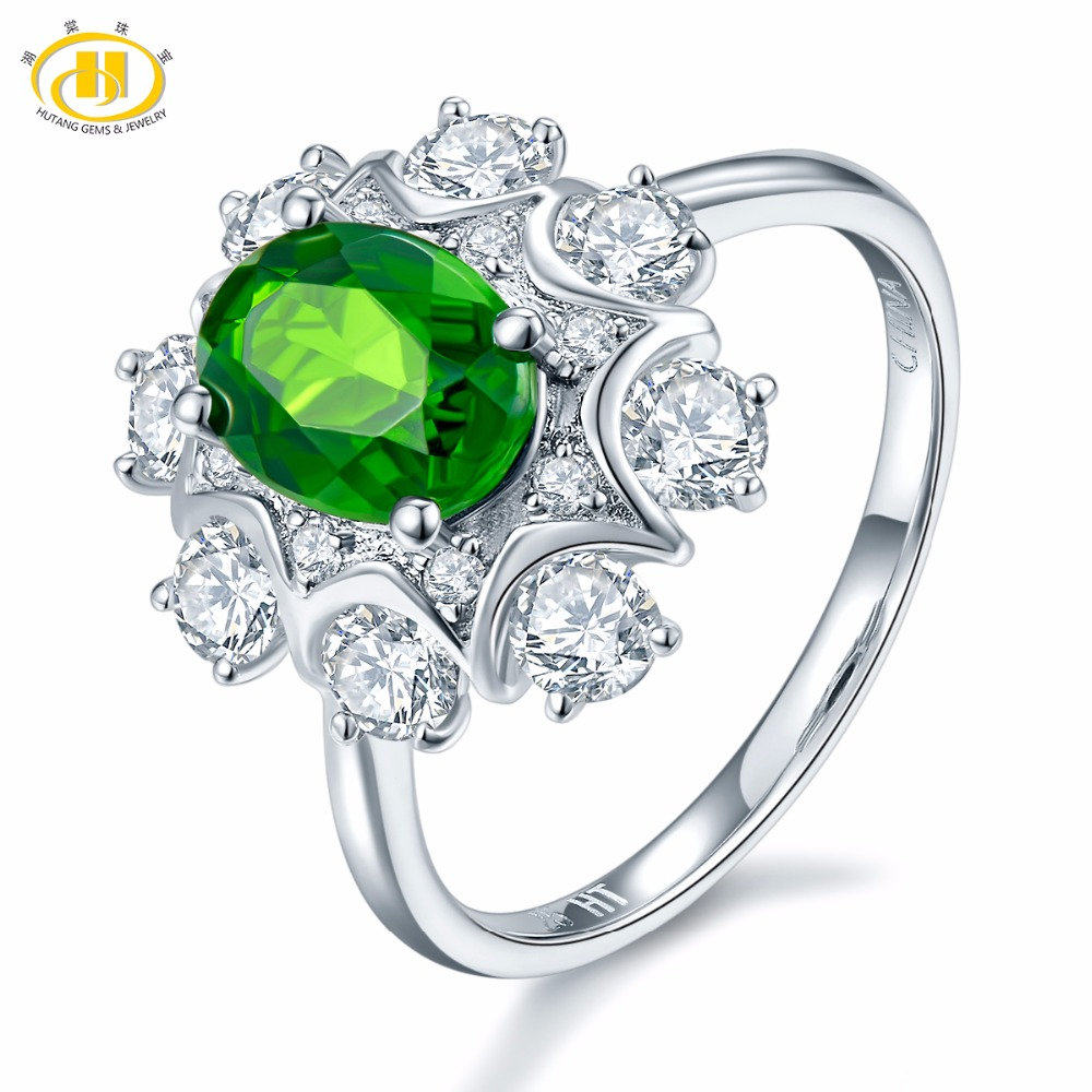 Hutang Natural Gemstone Chrome Diopside Solid 925 Sterling Silver Snow Ring Fine Jewelry Presents Gift For Women Christmas Gift hutang natural gemstone chrome diopside 925 sterling silver flower ring for women new fine jewelry presents gift 2018