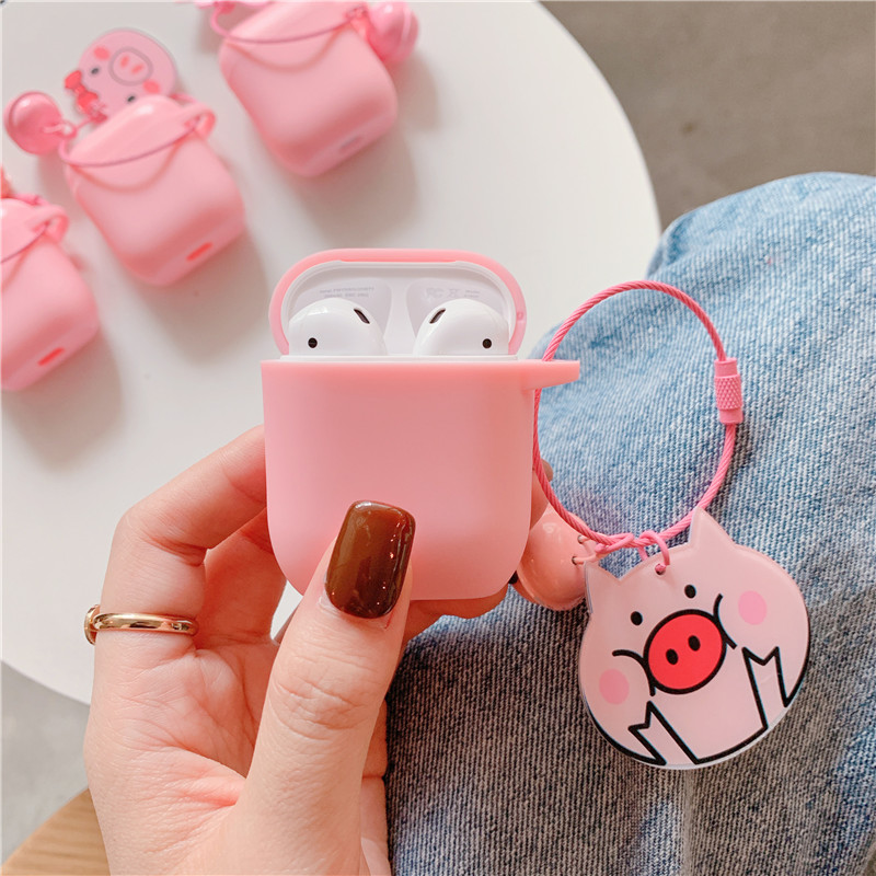 Cute Bell Keychain For Airpods 1 2 Case Silicone Wireless Earphone Charging case for AirPods Cover Headphone Case Accessories