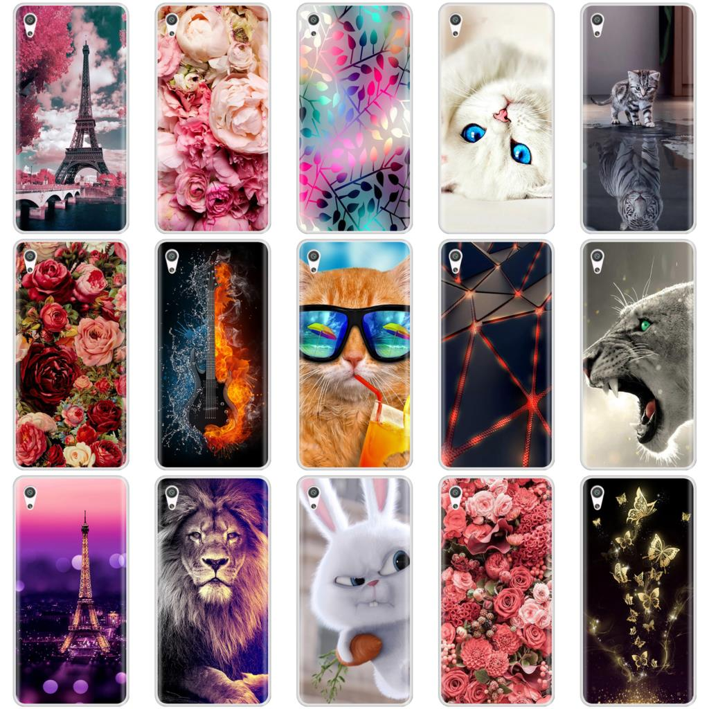 Phone <font><b>Case</b></font> For <font><b>Sony</b></font> <font><b>Xperia</b></font> XA <font><b>XA1</b></font> Ultra Plus Soft <font><b>Silicone</b></font> TPU Fashion Flower Painted Back Cover For <font><b>Sony</b></font> <font><b>Xperia</b></font> XZ Premium <font><b>Case</b></font> image