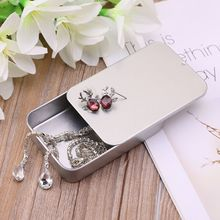 Silver Metal Tin Rectangle Jewelry Storage Box Case Candy Co