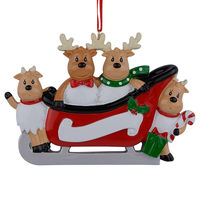 Resin Reindeer Family Sled Family Of 4 Christmas Ornaments Personalized Gifts For Holiday Or Home Decor