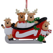Resin Reindeer Family Sled Of 4 Christmas Ornaments Personalized Gifts For Holiday or Home Decor Miniature Craft Supplies