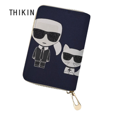 THIKIN Customized Your Image Card Holder for Women Karl Lagerfelds Cardholder Fashion PU Leather Passport ID Case Bag