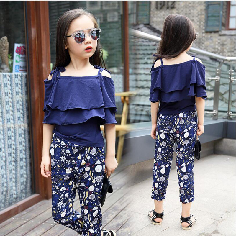 Children Girls Clothes Baby Girl Summer Clothing Sets Suspender T-shirt Casual print Pants Kids Fashion all-match Suits 7-14 Y