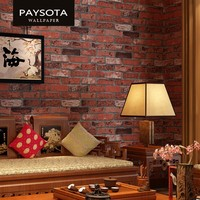 Chinese Style 3D Brick Pattern Wallpaper Red Gray White Sofa Living Room Bedroom TV Sofa Background