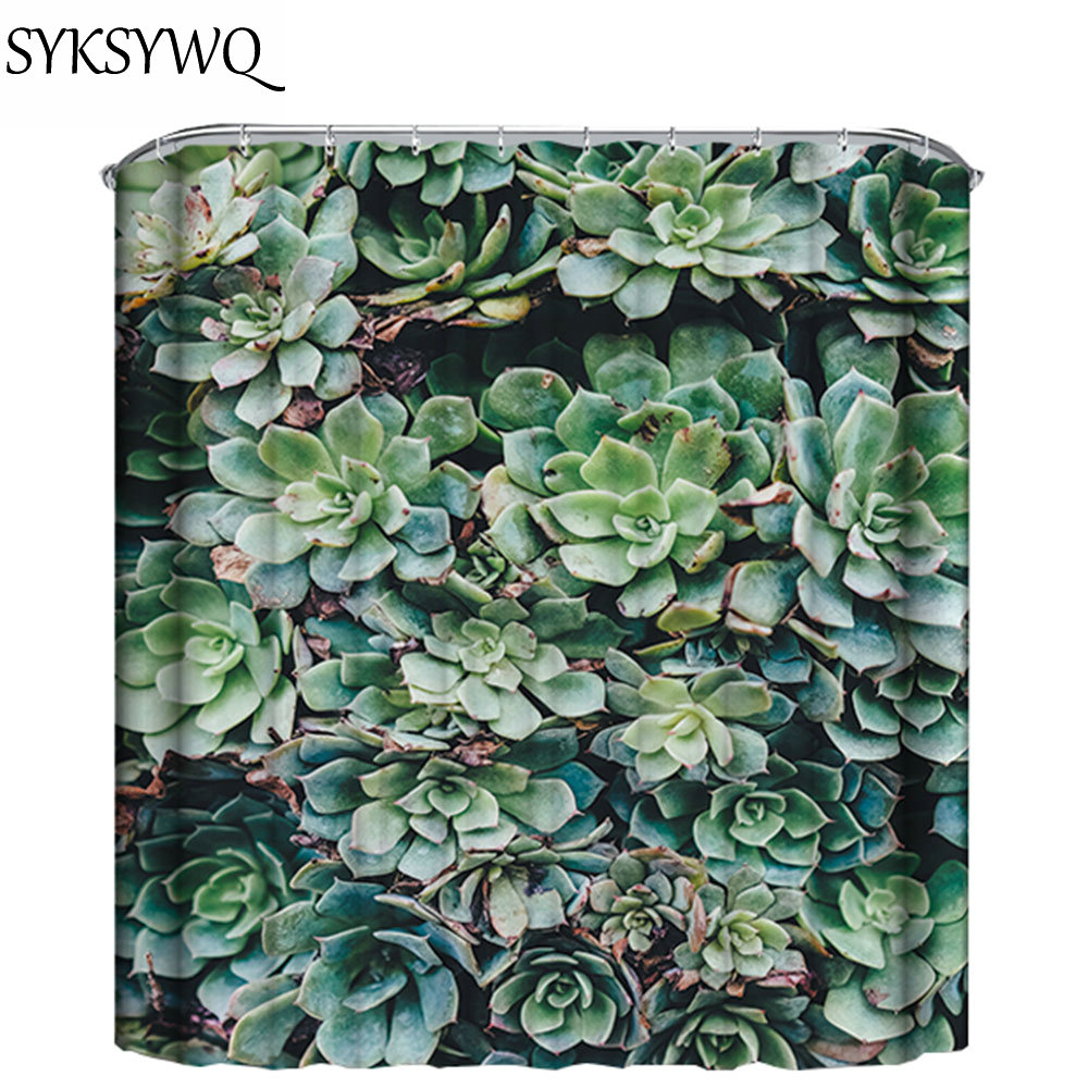 green succulent plants shower curtain rideaux douche 2018 new arrival shower curtains bathroom curtain