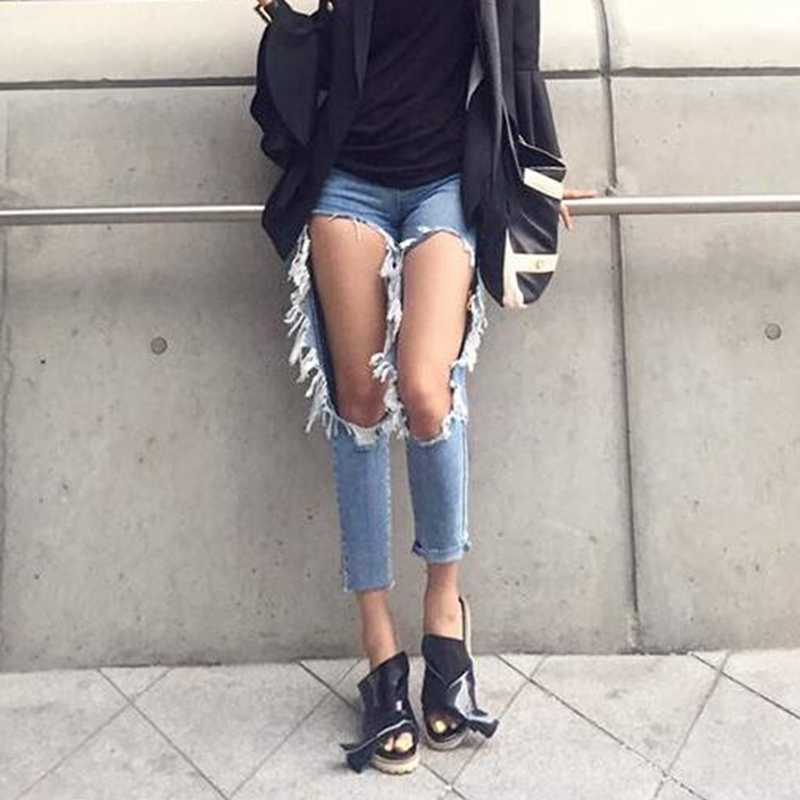 WITHZZ Ripped Jeans Ins Recommended Women's Loose Thin Jeans Women Pants Breeches Overalls Vintage Female Torn Trousers