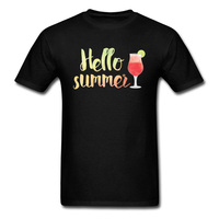 Hello Summer Drinks Watercolor T Shirts For Boys 2018 Cheaper Funny Print Pure Cotton T Shirt