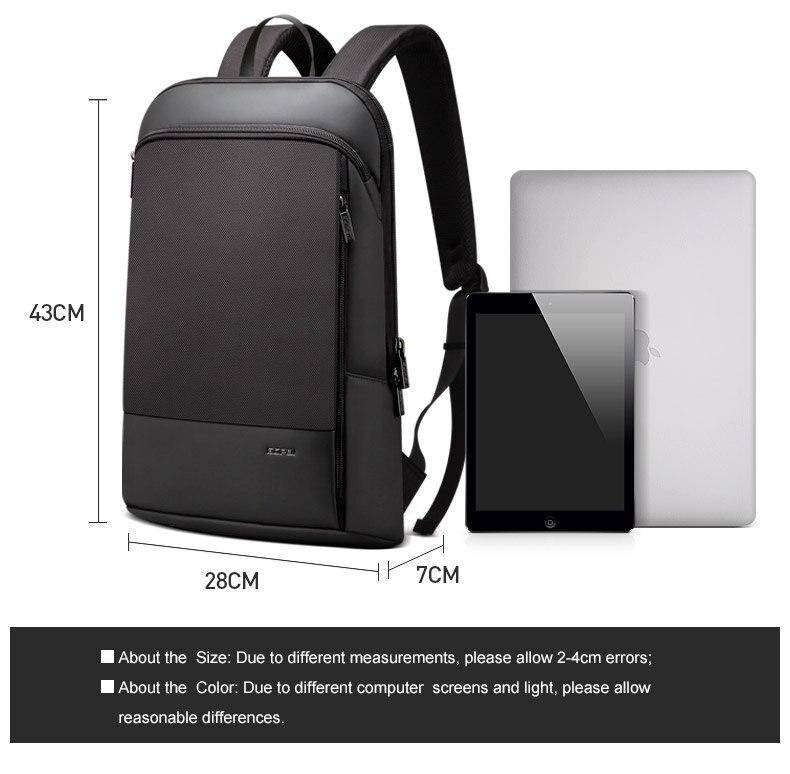 BOPAI Slim Laptop Backpack Men 15.6 inch Office Work Men Backpack Business Bag Unisex Black Ultralight Backpack Thin Back Pack