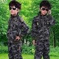Camuflaje Hijo a Establecer 2015 Niños Resorte de la Ropa de manga Larga prendas de Vestir Exteriores Muchachos Sportswear Militar Boy Juegos de Ropa
