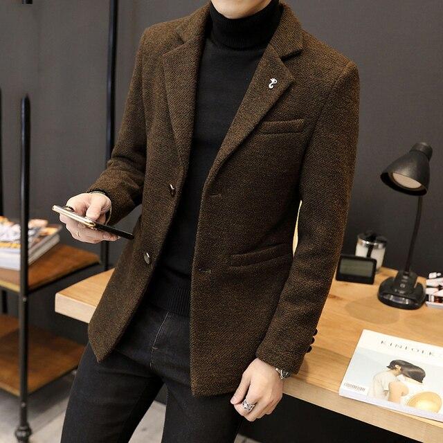 2018 Новый стиль Мужская шерстяное пальто Модные мужские Зубчатый воротник однобортный Шерстяной Тренч мужской тонкий верхняя одежда