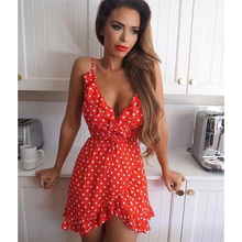 Summer Sexy Mini Strap Dress 2019 Women's Casual Boho Beach Print Backless Ruffled Dress Fashion Sexy Club Party Dress Vestidos цена и фото