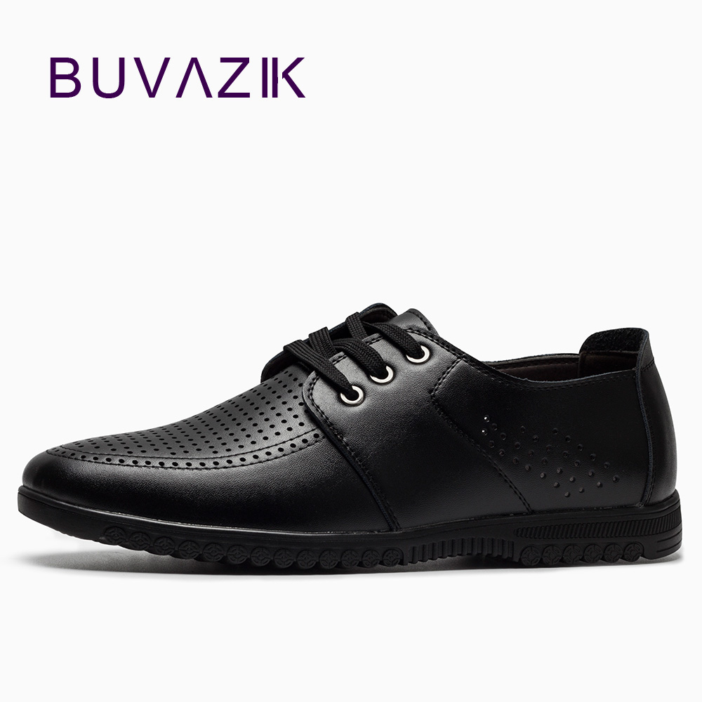 2018 pria sepatu kulit kasual pria sepatu rekreasi baru melubangi - Sepatu Pria