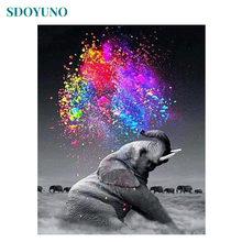 Sdoyuno слон 5d алмазная картина полная дрель квадратные животные