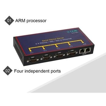 Rs232 A Convertidor Usb | MOOL 4 Puertos Rs232 A Ethernet Convertidor Compatible Rs232 Rs485 Rs422 A Ethernet Vcom/Tcp Servidor/Tcp Cliente/Udp (enchufe Estadounidense)
