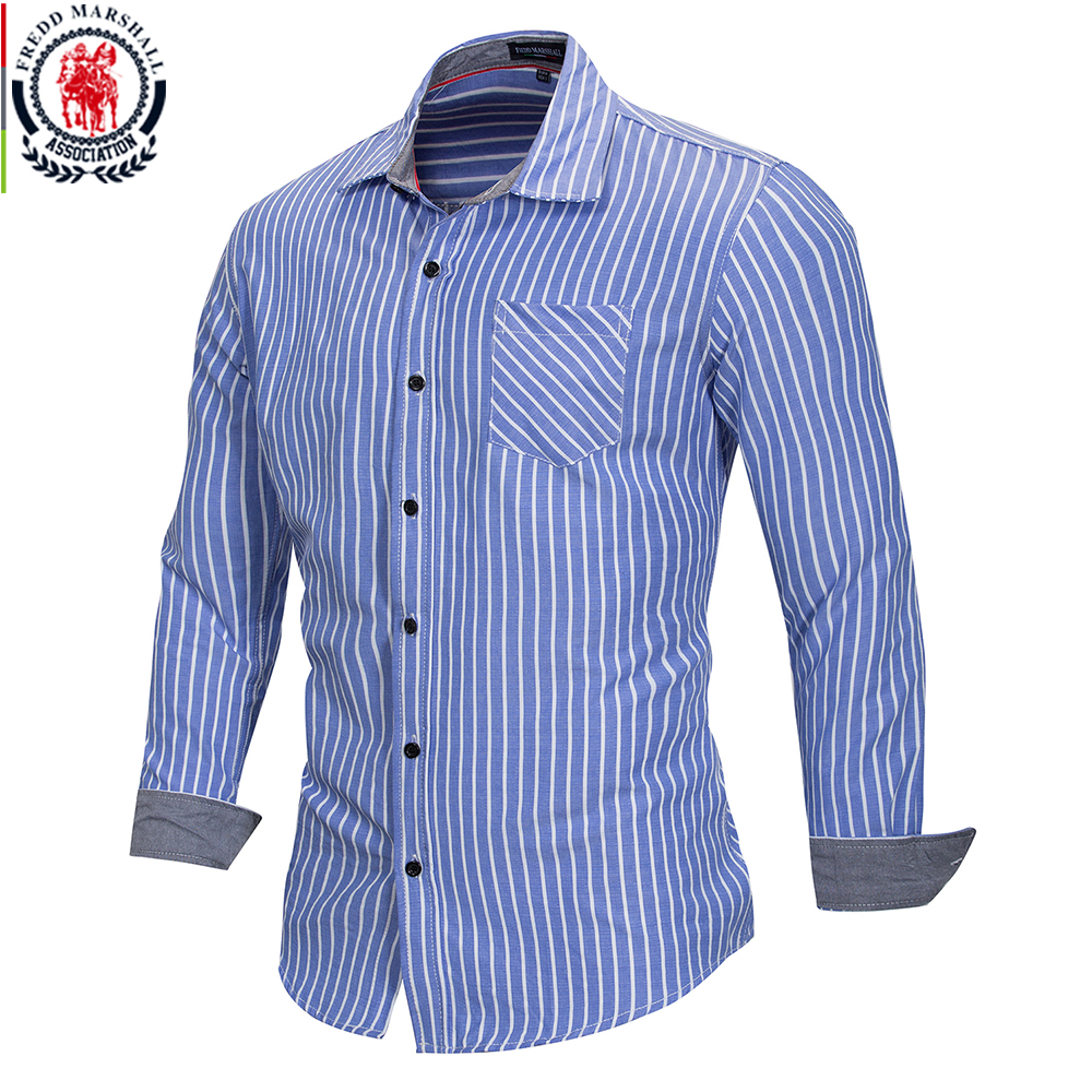 FREDD MARSHALL 2018 Summer Fashion Striped Shirt Men Casual Long Sleeved Social Business Dress Shirt Male Cotton Clothes FM166