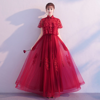 Fashion Women Satin Mandarin Collar Cheongsam Improved Flower Qipao Chinese Ladies Wedding Dress Evening Formal Dresses Vestidos