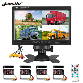 "Jansite 7"" 4 Split Screen Car Monitor 4-channel video input Display Camera with AV cable camera Parking System Rear view monitor"