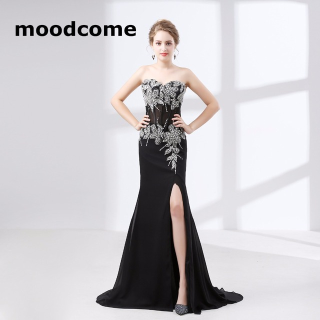 7110999663d 2018 Simple Cheap Prom Dresses Chiffon Applique Sexy Side Split Custom Made  Plus Size Formal Evering Gowns
