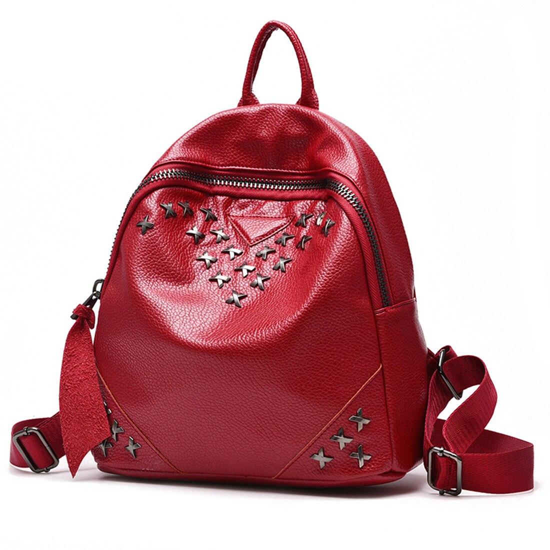 Women Backpacks Rivet Black High Quality Black red Leather Bags Shoulder Schoolbags For Girls Female Backpacks