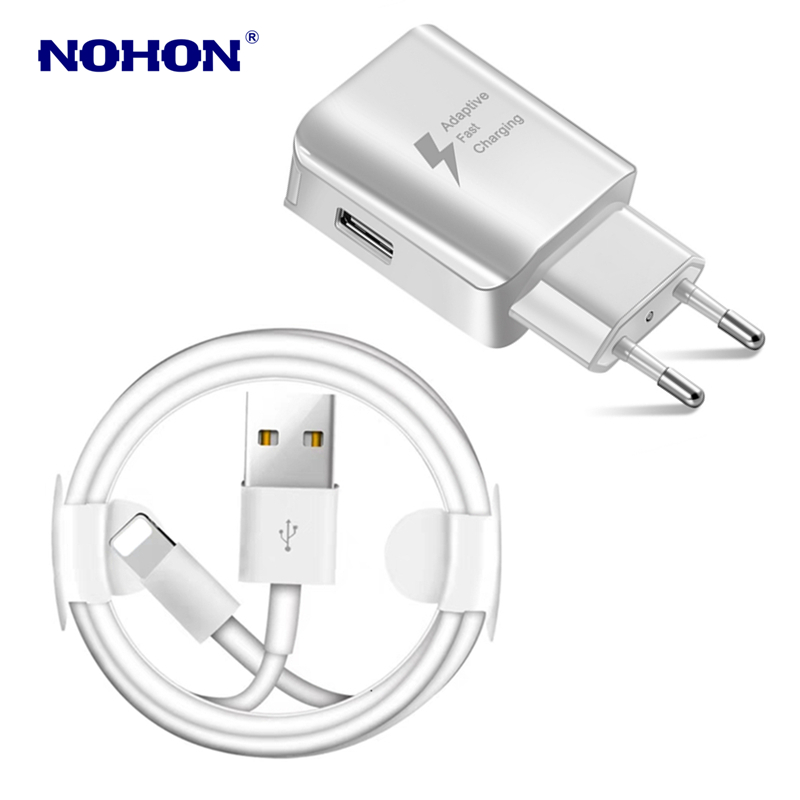 Image 2 - Kit 1M USB Cable+USB Fast Charger For iPhone X XS Max XR 5S 6 6S 7 8 Plus USB Charging Cable EU Plug Travel Wall Charger Adapter-in Mobile Phone Cables from Cellphones & Telecommunications
