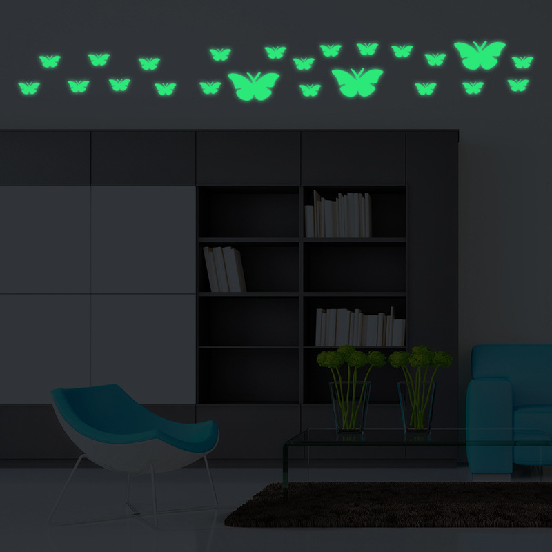 Free Shipping Glowing Wall Decals Nordic Style Shining Butterfly Stickers For Livingroom ...