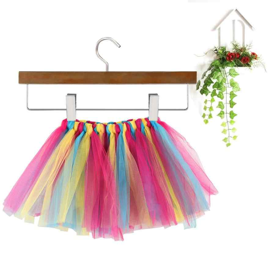 Verano mullido 3 capas niñas faldas de tutú Arco Iris bebé niños tul tutú falda niños bebé Tutus baile Petti falda 3 ~ 8Y