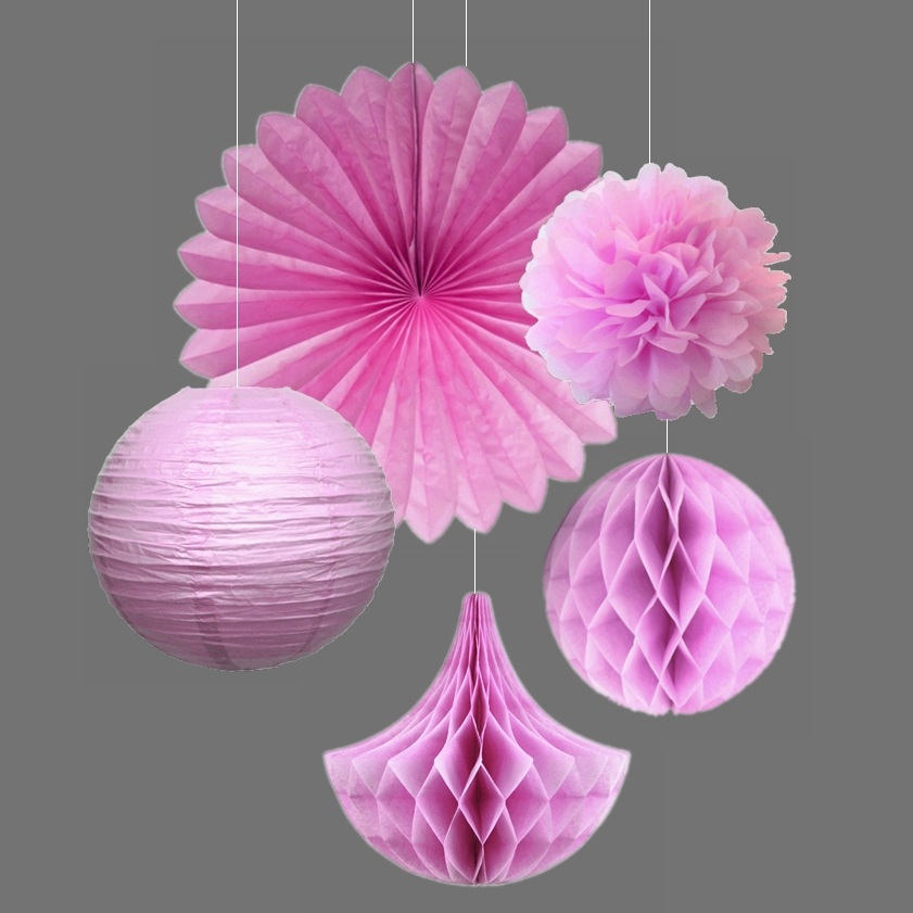 5pcs set Pink Party Decoration Kit Tissue Paper Pom Poms Fans Honeycomb Drops Balls Flowers Wedding Birthday Decor in Party DIY Decorations from Home Garden