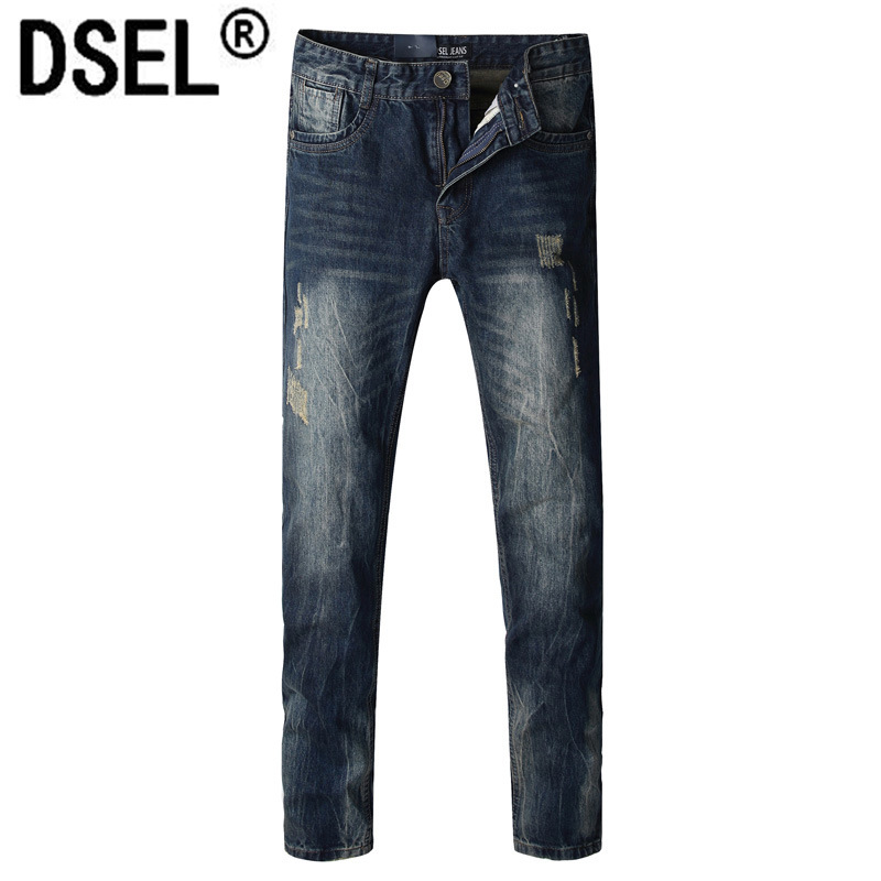 DSEL brand men's autumn and winter straight warm jeans Loose large size men fashion cotton straight Thin models jeans trousers