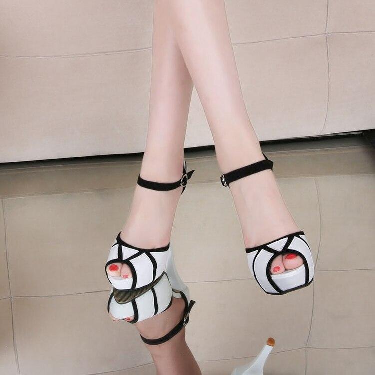 Peep Mujer Sandalias Zapatos 2017 Correa Toe Ol Partido Mujeres Plataforma 11 Heel Tacón Bomba Blanco Cm Elegante Talón Thin Verano qgRqZX