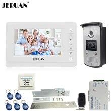 JERUAN Wired 7 inch TFT color video door phone intercom system 700TVL RFID Access IR Night Vision Camera ELectric Drop Bolt lock