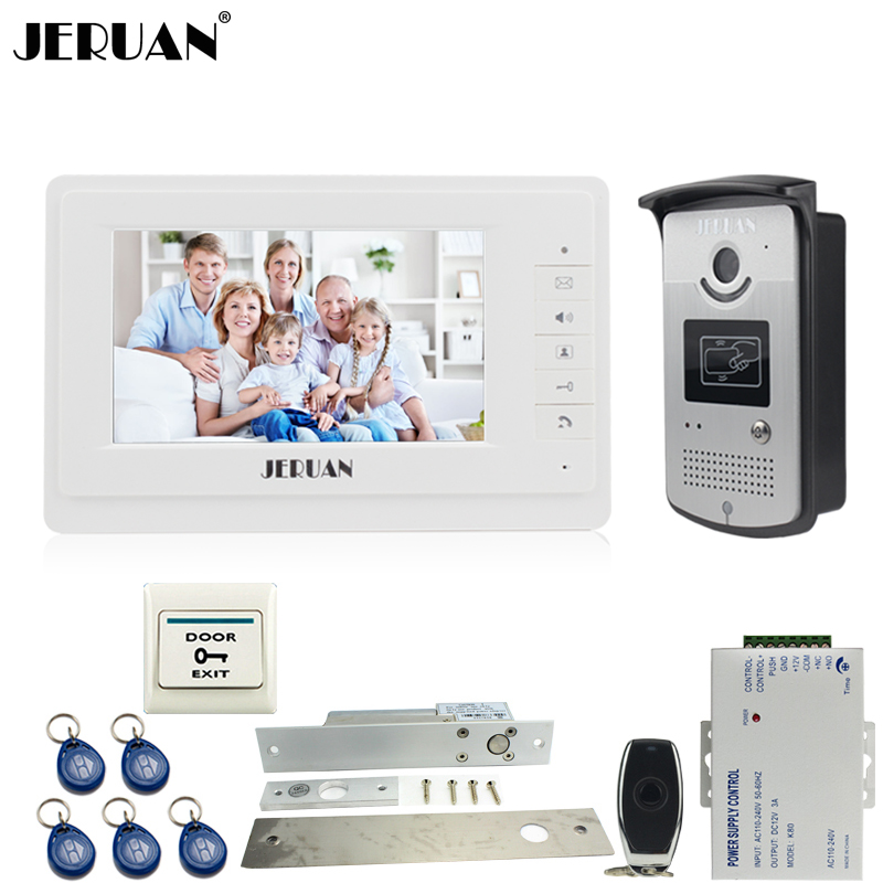 JERUAN Wired 7 inch TFT color video door phone intercom system 700TVL RFID Access IR Night Vision Camera ELectric Drop Bolt lock