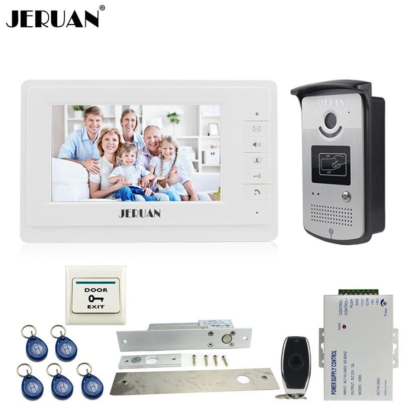 JERUAN filaire 7 pouces TFT couleur vidéo interphone système de porte 700TVL RFID accès IR Vision nocturne caméra électrique boulon de verrouillage