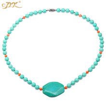 JYX summer fine Turquoise Necklace 8.5mm vivid green Round beads neclaces with pendant 22