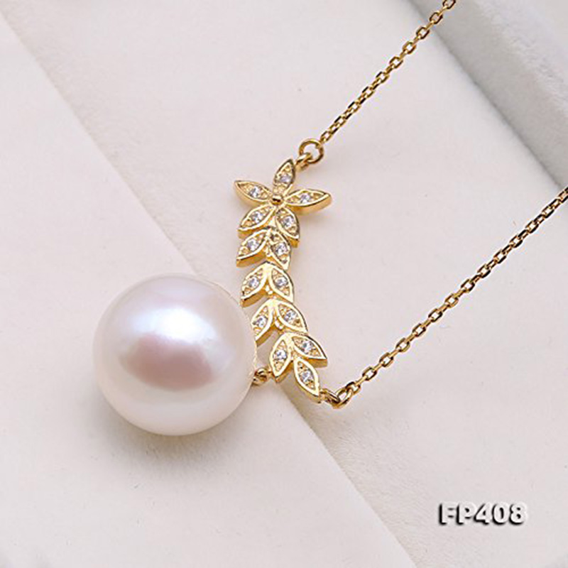 все цены на JYX Pearl Pendant Necklace 12mm White Freshwater Cultured Leaves Plant Pearl Pendant Necklaces for women 18