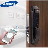 Samsung shp dp728 Keyless Bluetooth отпечатков пальцев push pull двухстороннее цифровой замок английская версия большой врезной бронза Цвет