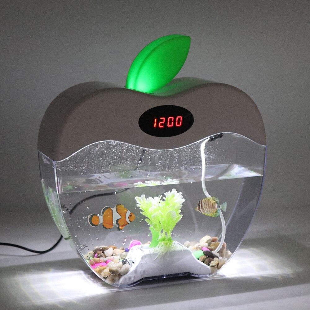 Mini Aquarium d'aquarium de bureau USB avec écran d'affichage à cristaux liquides de lumière de lampe à LED et Aquarium de réservoir de poissons d'horloge - 3