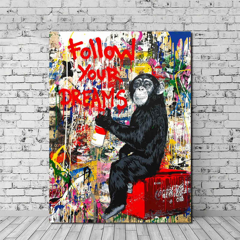 Follow Your Dreams Street Graffiti Canvas Posters Prints Wall Art Painting Oil Decorative Picture Modern Home Decoration Artwork