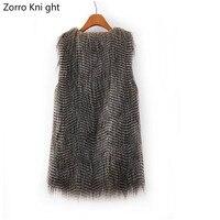 Zorro Kni ght Women Winter Mink Fur Waistcoat Jacket Fake Fur Vest Gilet Sleeveless Lapel Outerwear Jacket Keep Warm Coat S XXXL