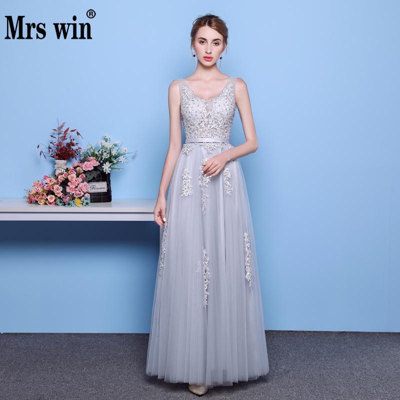 Hot Sell Light Grey V-neck Lacing Plus Size Evening Dress The Bride Party Sexy Backless Prom Dresses Custom Vestido De Festa