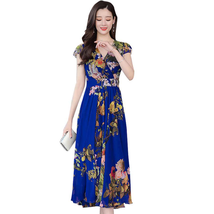 2019 элегантные цветочные шифоновые платья в стиле бохо, летние новые винтажные платья 4XL размера плюс, пляжный Сарафан Макси с принтом, женские облегающие вечерние платья