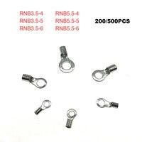 200/500 pcs Anello bare terminali di estremità del cavo connettore del cavo Elettrico crimpare terminale nudo RNB3.5-4 ~ RNB5.5-6 cavo di collegamento puntali