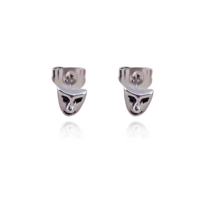2016 Fashion Parrings Punk Unisex ersonality Stainless Steel Mask Stud Women Men Earrings Jewelry Gifts