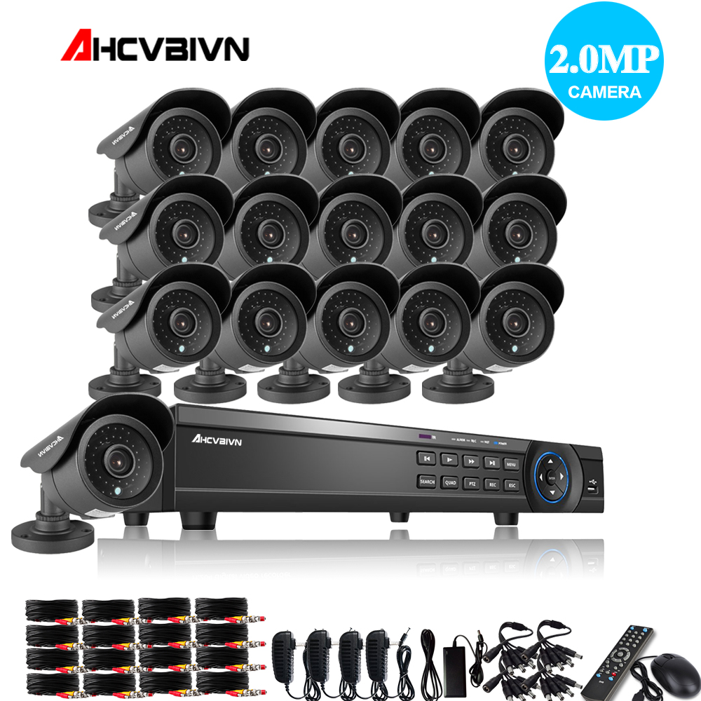 16CH CCTV System 1080P DVR kit AHD H CCTV Video Recorder 1920 1080 2 0MP CCD
