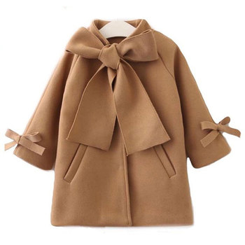Cute Toddler Kids Baby Girls Overcoat Woolen Bowknot Single Breasted Coat for Girl Outerwear Winter Warm Clothes Snowsuit 2-8Y