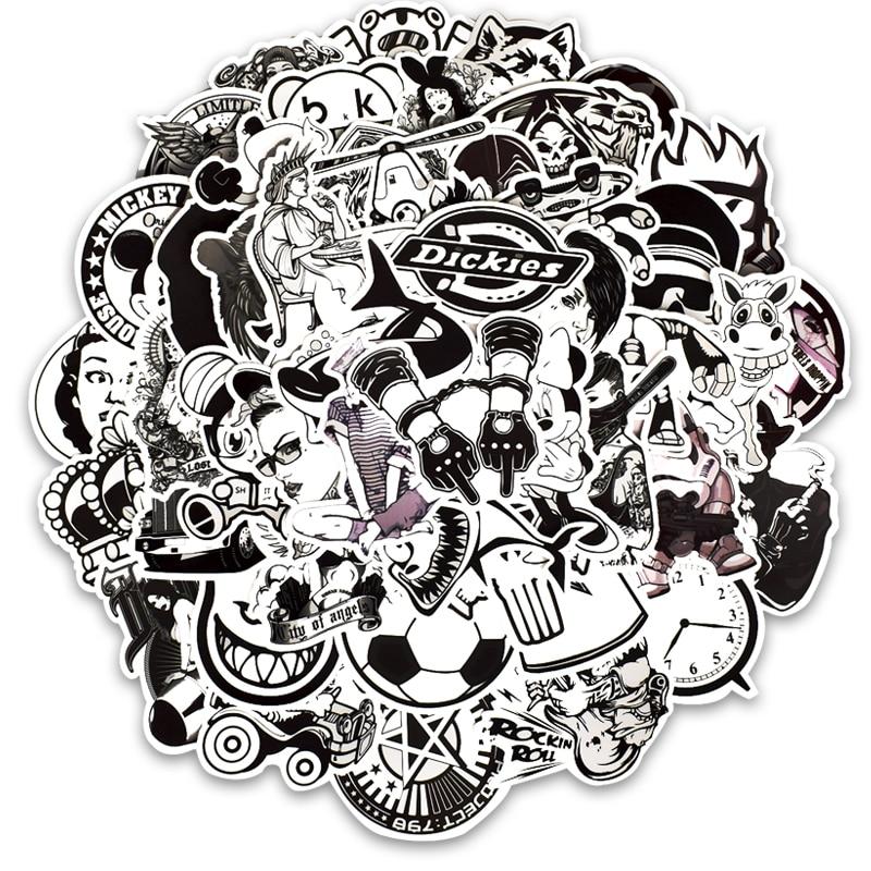 50PCS/LOT Retro Black White Sticker On Laptop Guitar Luggage Skateboard Phone Motorcycle Stationery Stickers